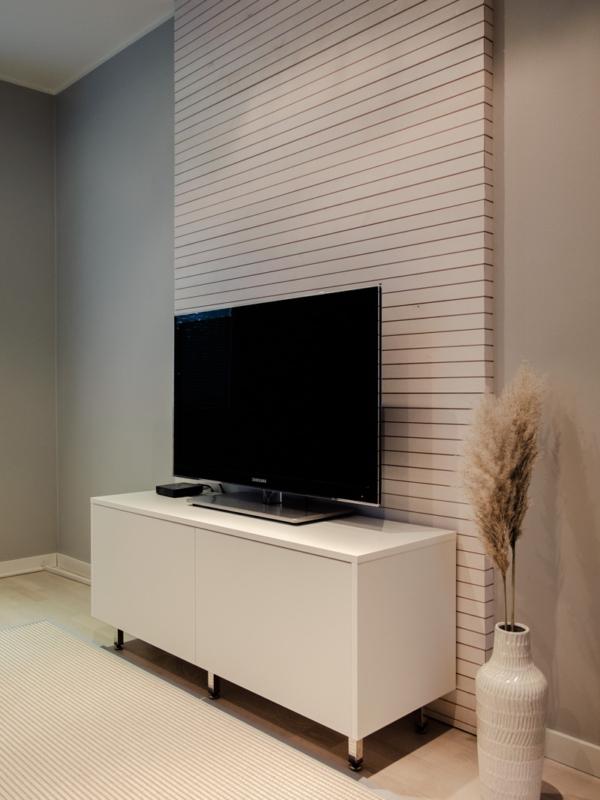 TV-tilan tason taaksen rakennettiin rimoitus.